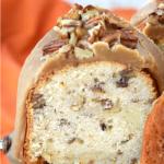 EASY BOURBON PECAN POUND CAKE WITH CARAMEL GLAZE