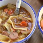 SAVORY CHICKEN SAUSAGE NOODLE SOUP