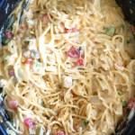 Crockpot Chicken Cheesy Spaghetti