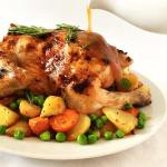 Sunday Roast Chicken with Carrots, Potatoes and Peas