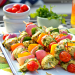 Grilled Fajita Chicken Kebabs with Cilantro Pesto