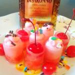 Cherry Cordial Candy Shots with Cherry Amaretto Whipped Cream