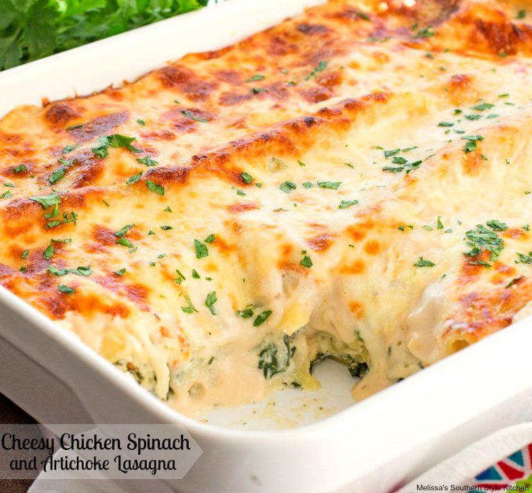 Cheesy chicken spinach and artichoke lasagna maria 39 s for Spinach chicken lasagna recipe