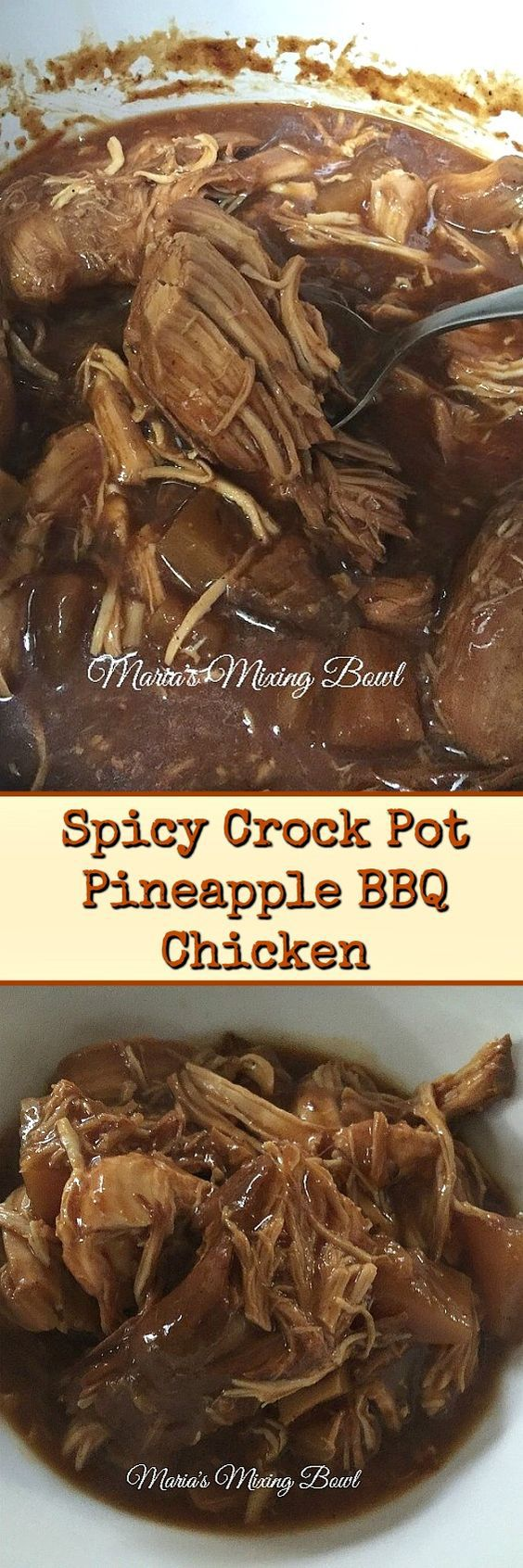 Spicy Crock Pot Pineapple BBQ Chicken - A delicious sweet and spicy meal that takes minutes to put together and is loved by everyone!