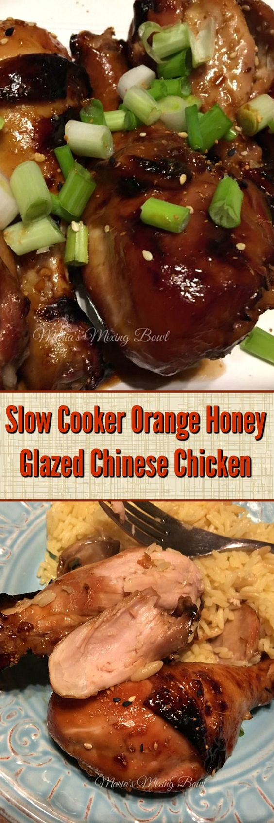 Slow Cooker Orange Honey Glazed Chinese Chicken-  This easy slow cooker dinner combines the sweetness of the orange marmalade and honey, the spiciness of red pepper flakes and the Asian flavors the whole family loves.