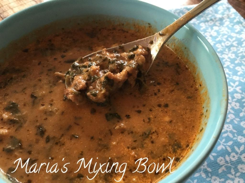 CREAMY TOMATO SPINACH SAUSAGE SOUP - Maria\'s Mixing Bowl