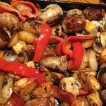 Sheet Pan Sausage, Peppers, Mushrooms and Potatoes