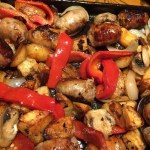 Sheet Pan Sausage, Peppers, Mushrooms and Potatoes