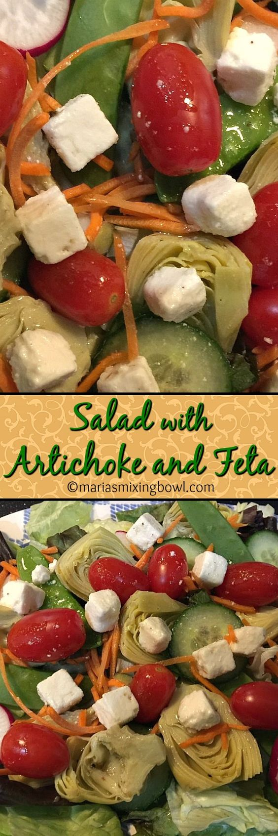 Salad with Artichoke and Feta - A simple and delicious salad that manages to make it to our dinner table a couple of times a week. Yes it is one of our favorites.