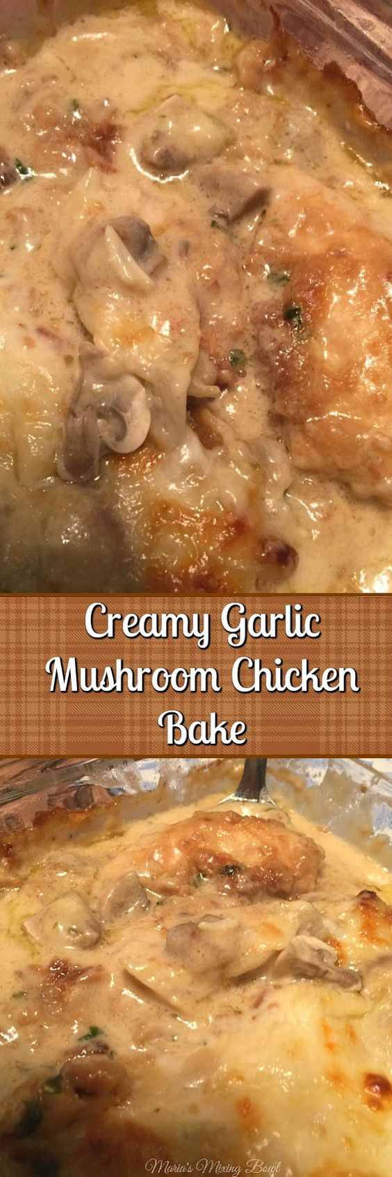 Creamy Garlic Mushroom Chicken Bake - This simple, delicious and easy saucy chicken is so yummy! One of our favorite go to meals.