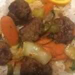 Orange Glazed Ginger Meatballs over Jasmine Rice