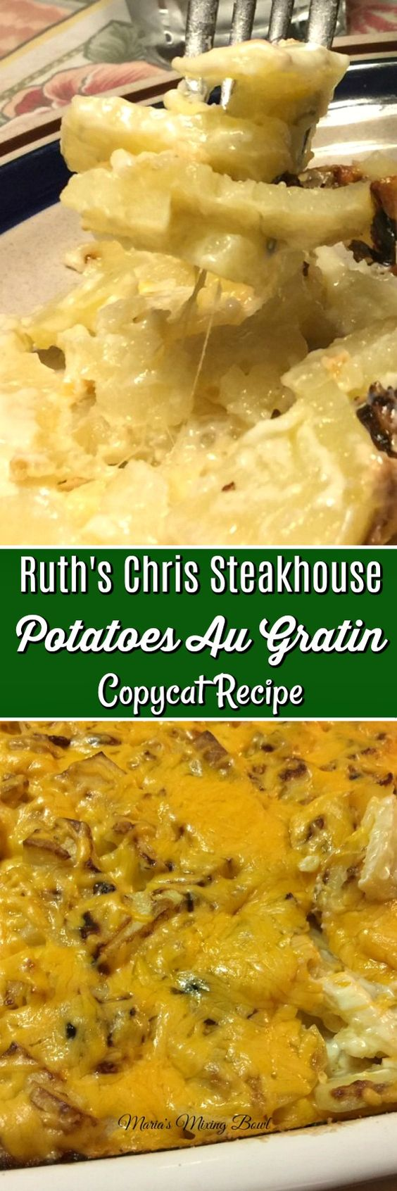 Ruth's Chris Steakhouse Potatoes Au Gratin Copycat Recipe- One of those recipe my family asks for over and over again. It is creamy and has just the right amount of garlic and cream.