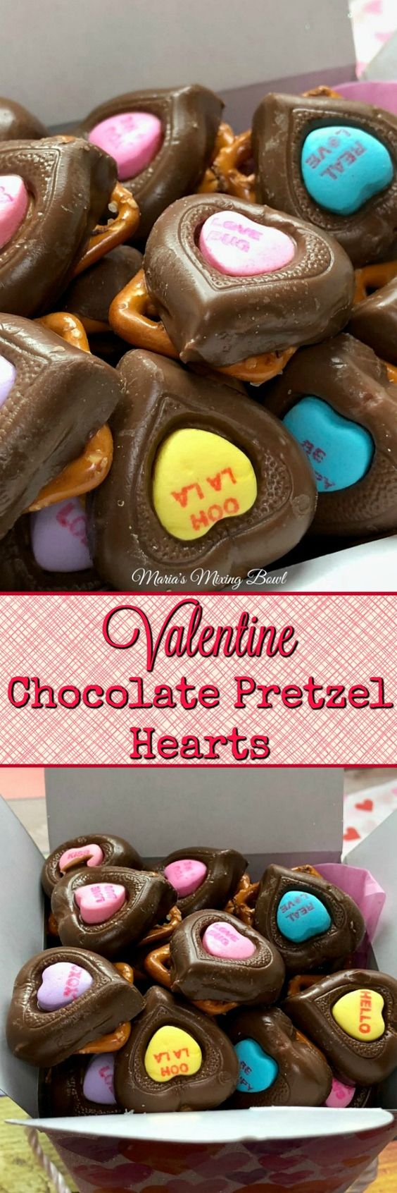 Valentine Chocolate Pretzel Hearts -  Adorable, easy to make with only 3 ingredients and so yummy!  A perfect Valentine treat. Everybody's favorite!