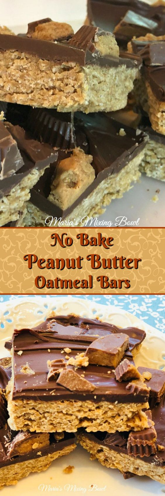 No Bake Peanut Butter Oatmeal Bars -   We can't resist these No Bake Peanut Butter Oatmeal Bars with chocolate frosting and pieces of Reese's cups on top! They are so easy to make and a family favorite.