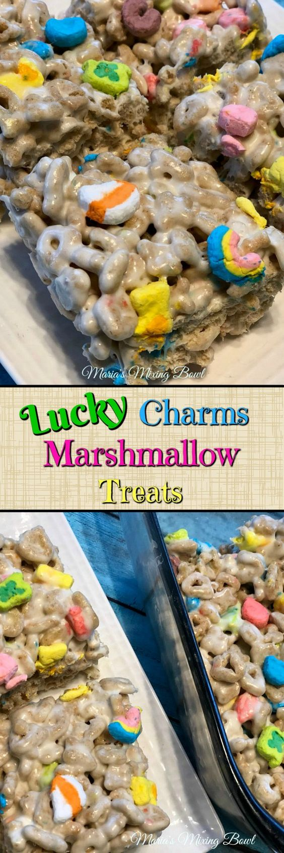 Lucky Charms Marshmallow Treats - A fun and super easy treat the whole family will love. Young and old. And you only need 3 ingredients to make these treats!