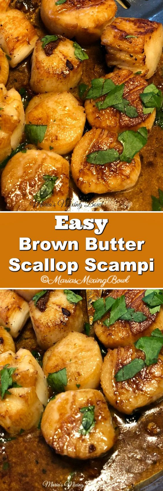 Easy Brown Butter Scallop Scampi - Delicious garlic scallops, seared to a golden perfection in browned butter and garlic and just a few other simple ingredients that make this a simple must make meal.