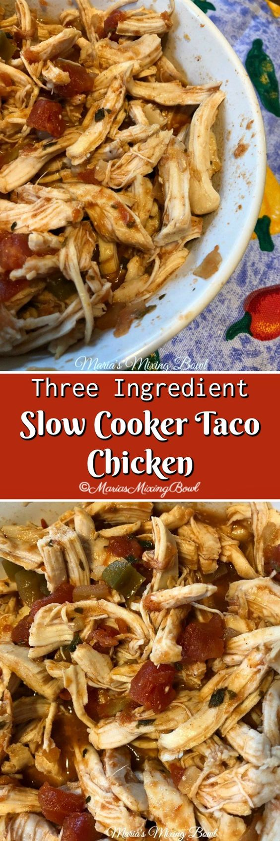 This Three Ingredient Slow Cooker Taco Chicken is the easiest recipe for chicken tacos. Just a few minutes of prep time and a slow cooker and your good to go!