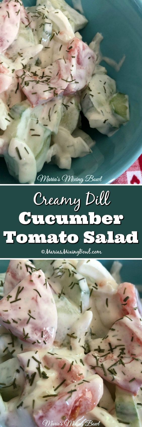 Creamy Dill Cucumber Tomato Salad -This creamy cucumber and tomato salad is so simple to make and is one of our go to summer salads. The perfect side dish with all your grilled burgers, meats and fish!