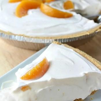 No Bake Cheesy Peach Yogurt Pie