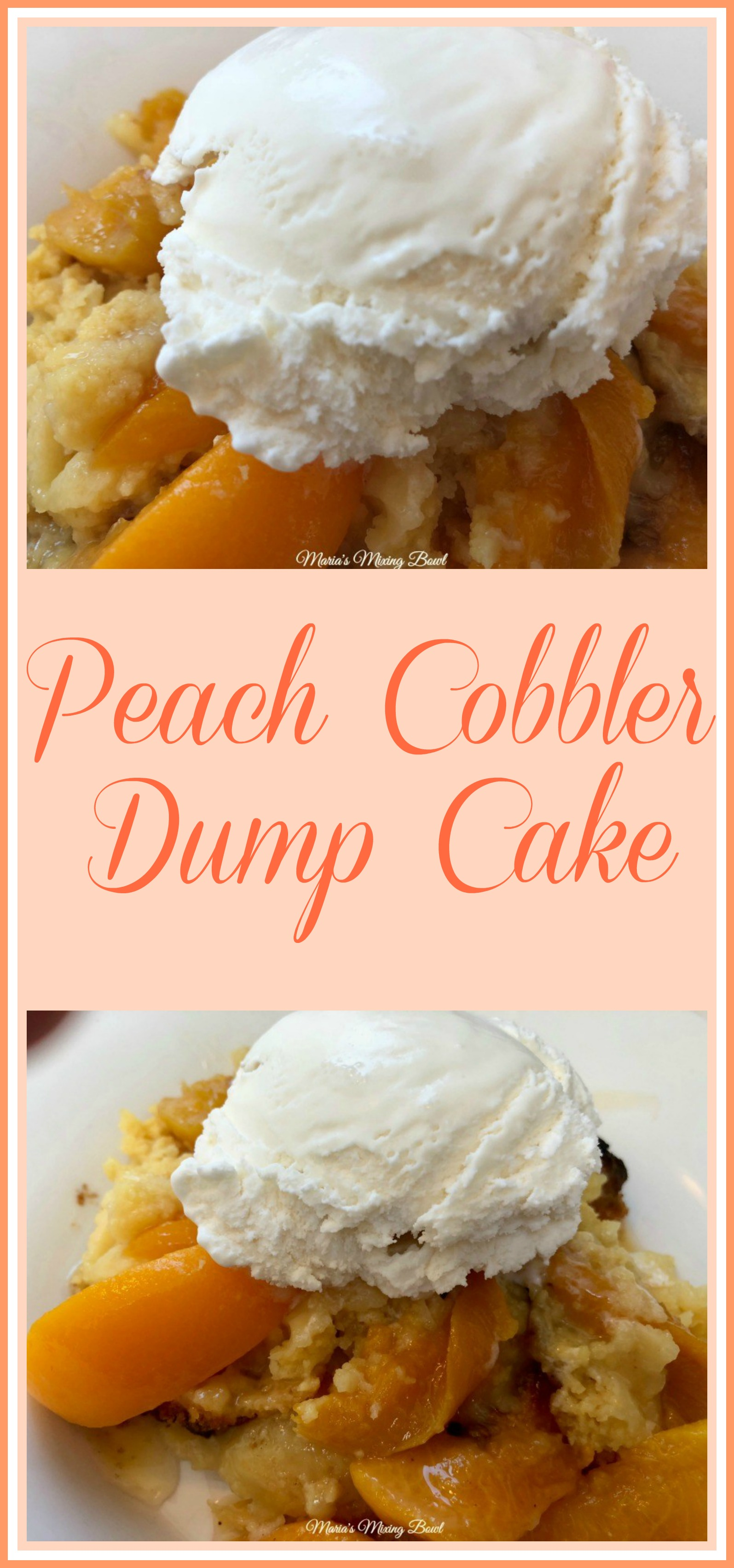 Peach Cobbler Dump Cake - Just a few ingredients and you will have yourself a delicious dessert that everybody will love. Perfect for potlucks and family gatherings!