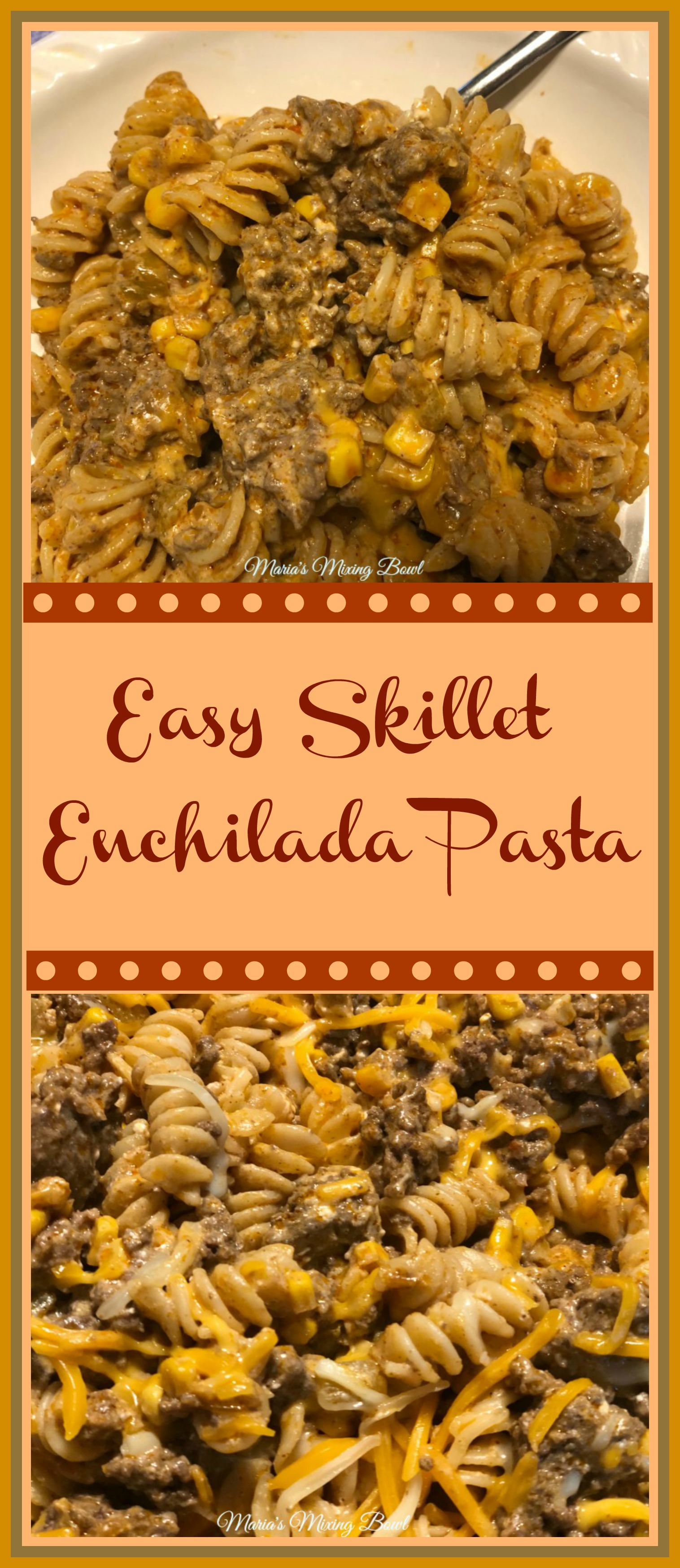 Easy Skillet Enchilada Pasta -  A one pan meal that makes a weeknight dinner really simple and quick. Who doesn't love a quick and delicious meal during the week? We sure do!!