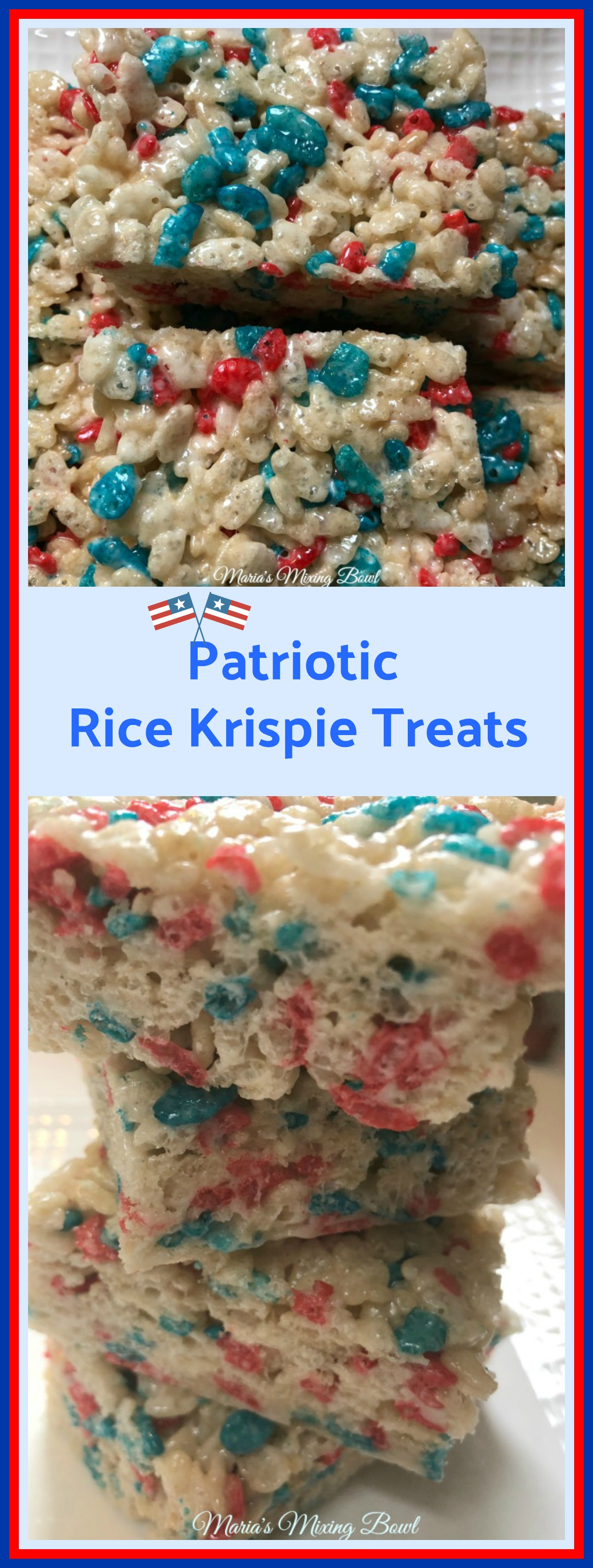 Patriotic Rice Krispy Treats Recipe - Serve up this ooey gooey treat at your Memorial day or July 4th BBQ and everyone will have a smile on their face!