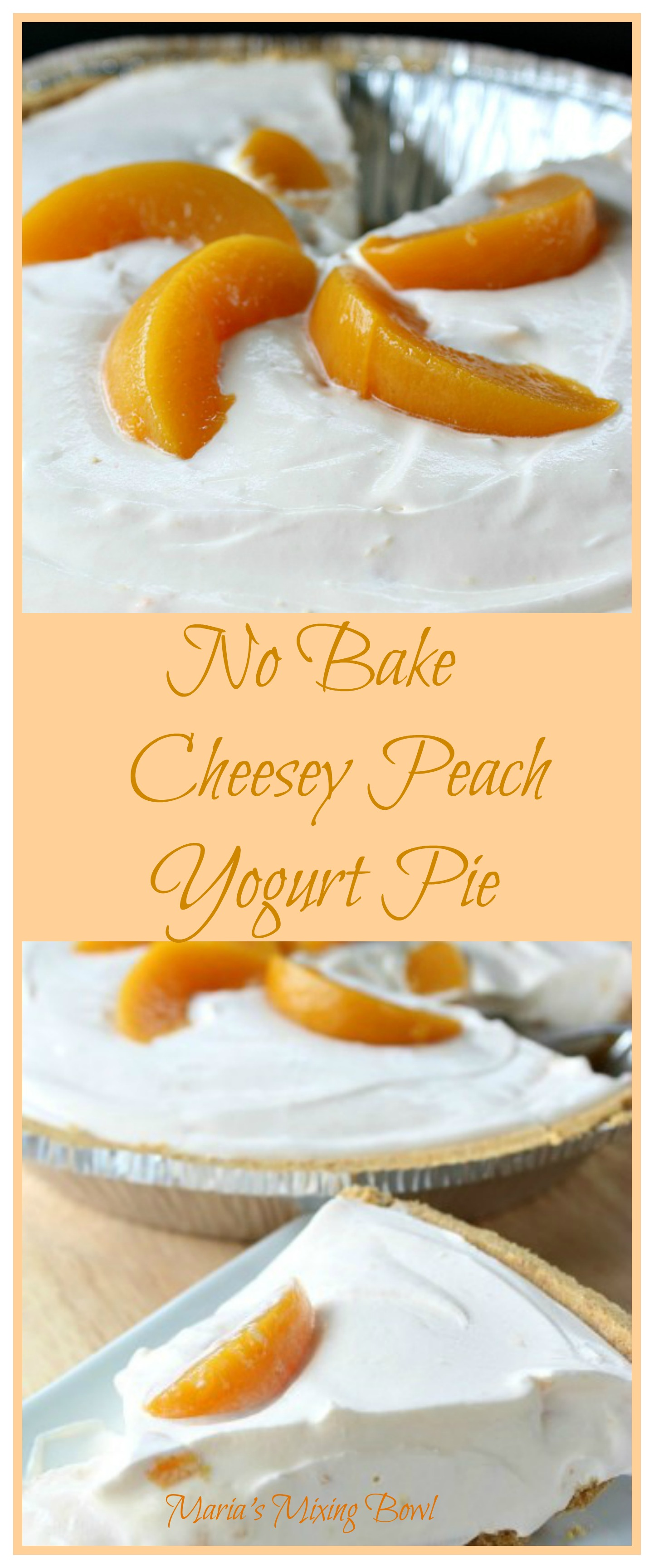No Bake Cheesy Peach Yogurt Pie -  This refreshingly easy No Bake Cheesy Peach Yogurt Pie can be prepared using just a few ingredients. It's so quick and easy not to mention delicious. My kind of pie!!