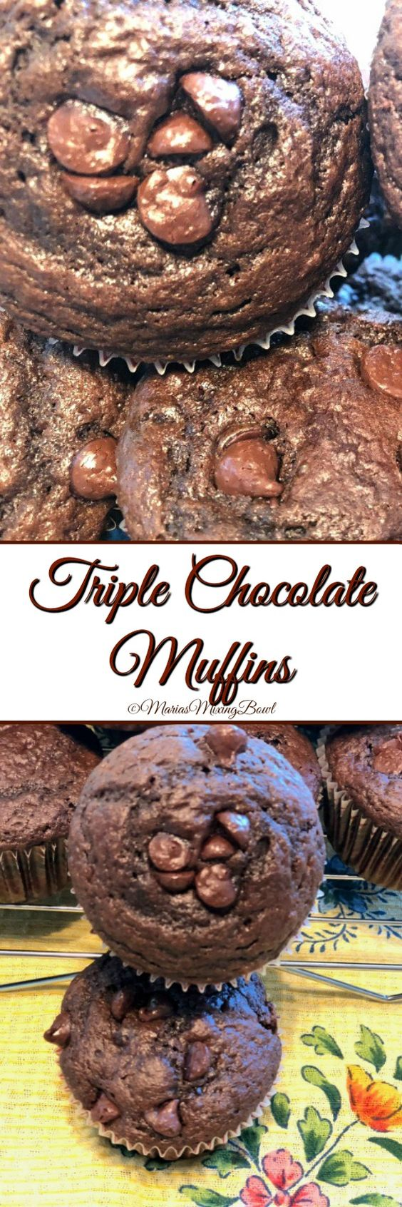 Triple Chocolate Muffins - We are calling these muffins because they aren't frosted. Some would call them cupcakes. Honestly they don't need frosting because they are very rich on their own. And the texture is much different than a cupcake too.