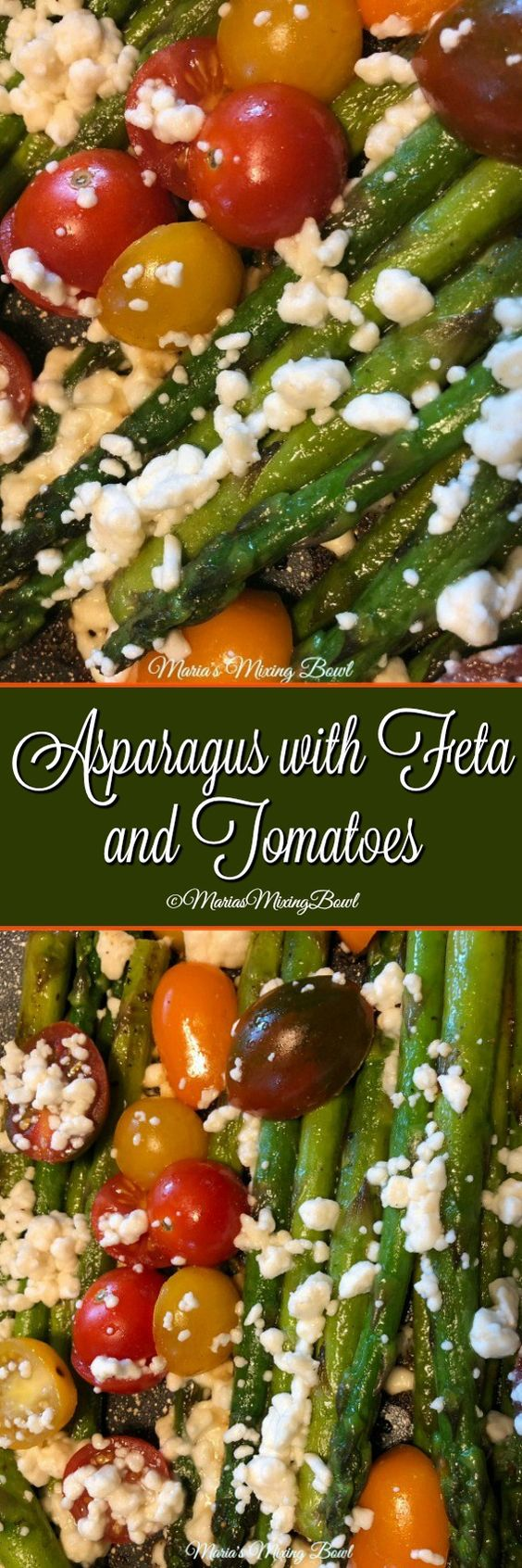 Asparagus with Feta and Tomatoes recipe is so delicious and takes less than 10 minutes to make! Crispy on the outside,  and tender on the inside and full of incredible flavor!