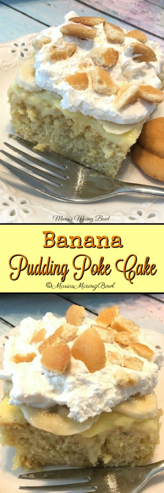 Banana Pudding Poke Cake Recipe -  Looking for the BEST banana pudding poke cake? Look no further. The flavors of banana cream pie come together in this easy and delicious poke cake!