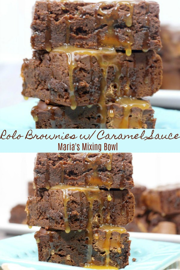 Rolo Brownies with Caramel Sauce