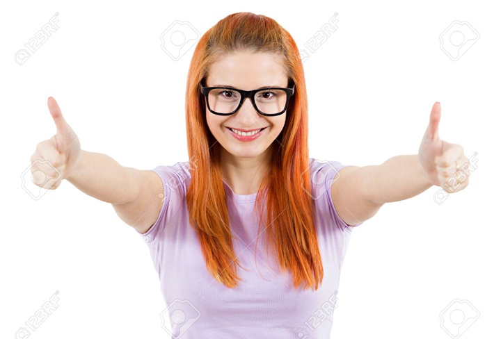 Closeup portrait, young successful smiling redhead woman, excited student, giving thumbs up, isolated white background. Positive human emotions, facial expressions, feeling, signs, symbol, attitude