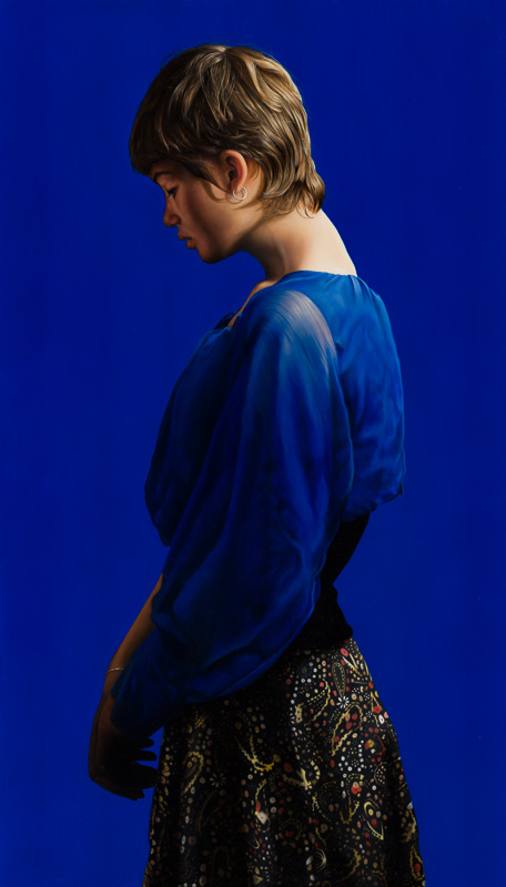 Girl in Blue, 2016, 140 x 80 cm. Oil on canvas