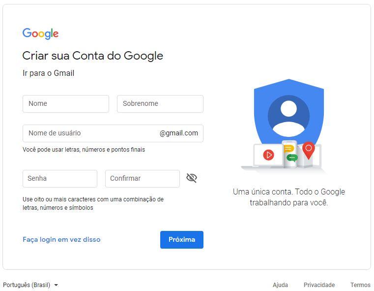 Criando uma conta no Google