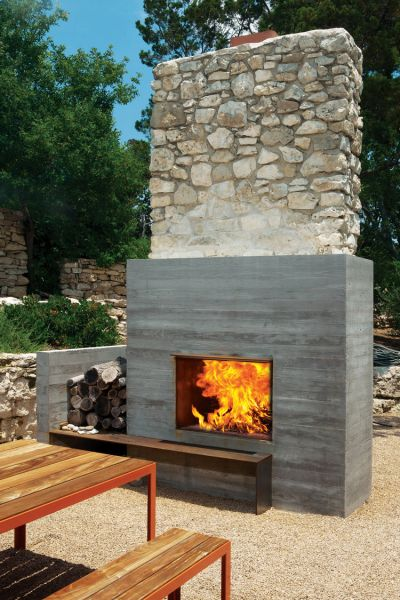 outdoor patio fireplace Modern Fireplaces: Rustic + Refined - Studio MM Architect
