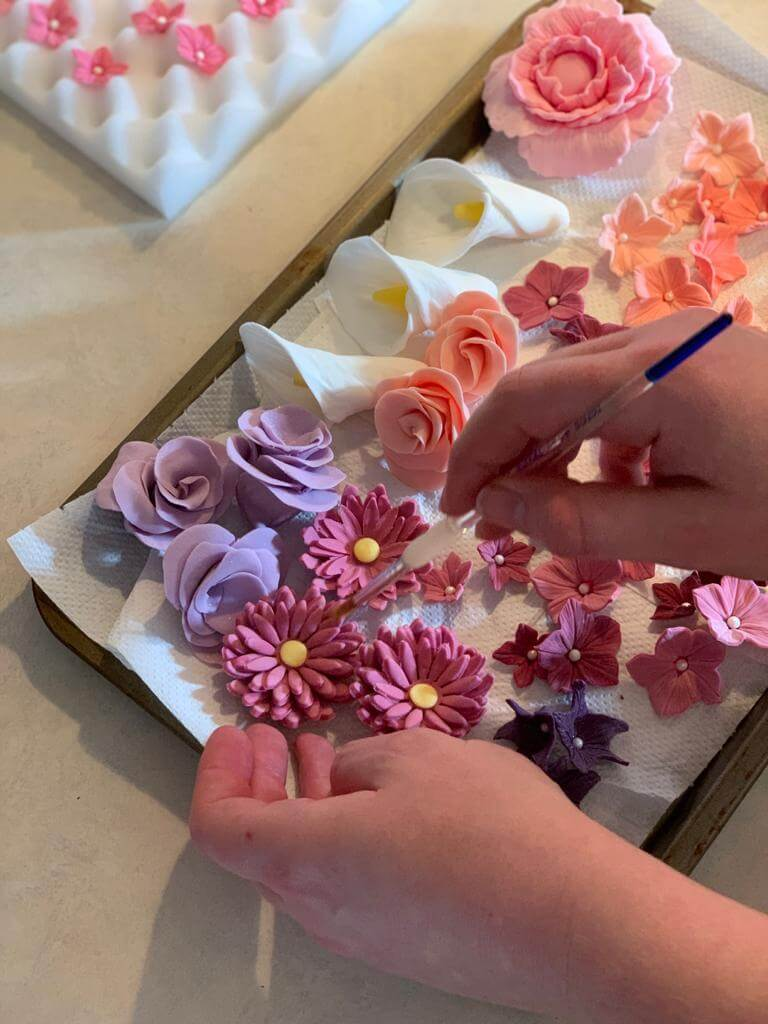 How to hand make Fondant flowers handmade coral purple pink white Marie Makes