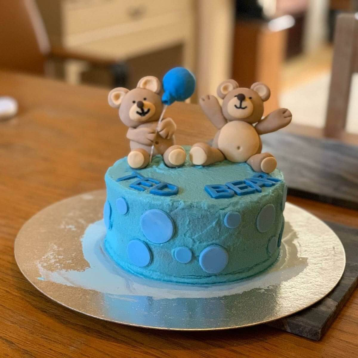 Boys Birthday Cake Personalised Fondant Teddy Bears Marie Makes