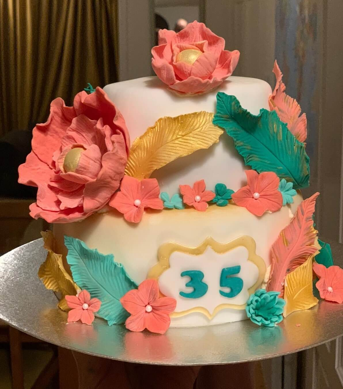 Coral Jade Teal 35th Anniversary Cake Marie Makes