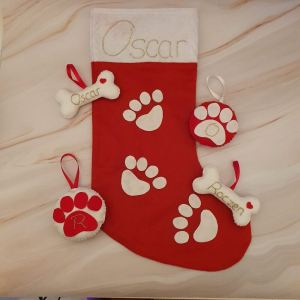 Assortment of felt Christmas decorations pet themed with hand embroidered names and initials