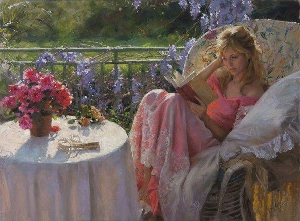 *Elle lit-Fleurs - Une belle femme romantique-Douceur*