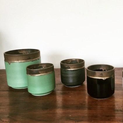 série de pots orchidées, collections vert, noir, bleu