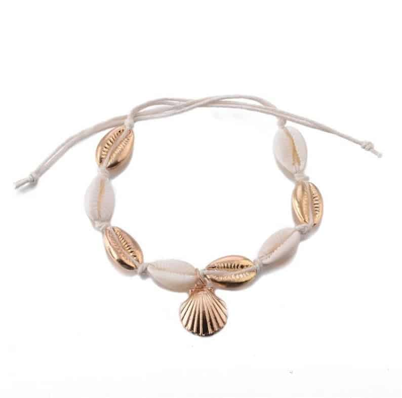 Bracelet de cheville coquillages cauries5