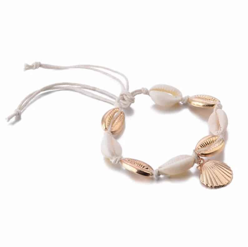 Bracelet de cheville coquillages cauries6