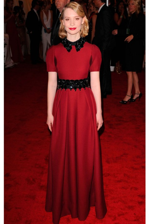 Mia Wasikowska at the Met Ball 2012