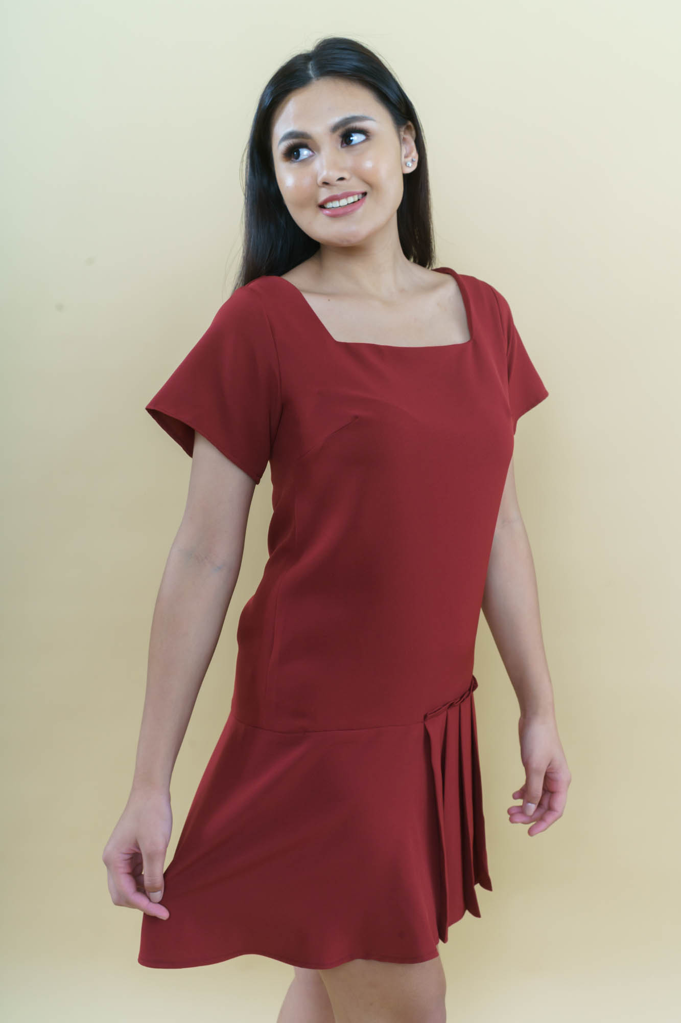 with pleats and ruffles