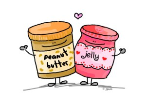 image of peanut butter and jelly jars hugging - mariedeveaux.com