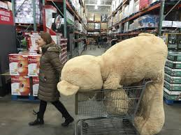 Oversized stuffed bear being carted through a big box store illustrates the marketing scandal of valentines day, as Marie Deveaux career coach discusses self love as the highest love.