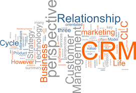 Marie Deveaux advocates using a CRM for netwroking and shows graphic of CRM word cloud with CRM, marketing, relationship, perspective, customer management, Cycle, business and other prominent words displayed in gray, blue and orange text at intersecting angels.