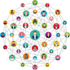 Marie Deveaux , business coach posts an image of a spehere connected at every angle by the image of a person to illustrate how success in a network marketing company can be defined in small baby steps