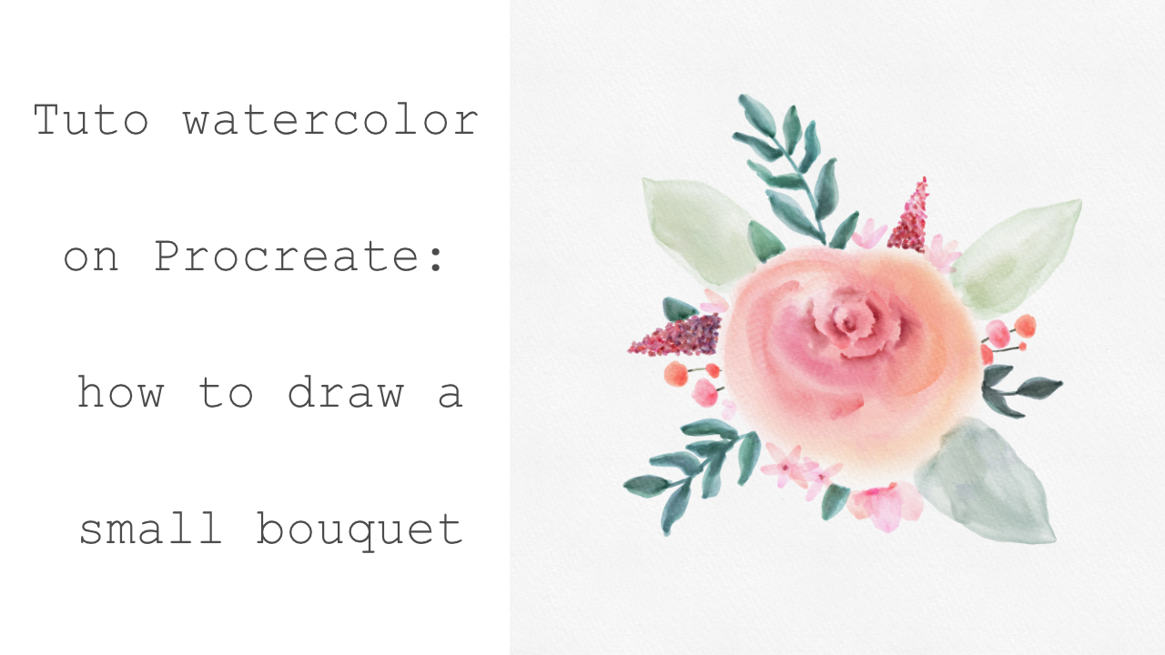 Tuto aquarelle sur Procreate: comment dessiner un petit bouquet